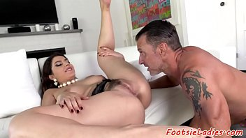 hd feet rubbing her Huge tits in bed