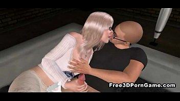 glasses kiss blonde secretary a with linda Pink satin robe