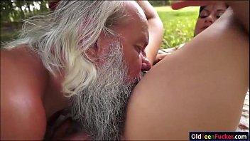 cock rubbing grandpa Teen anal in kitchen