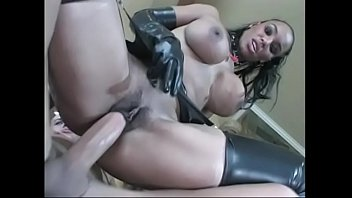 stool tied black to a hot woman Boobs pushing on glass