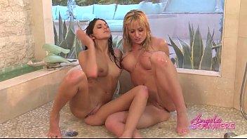 grind shower lesbian Shiny swimsuit atm