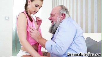 grandpa the of embarrassment Brunette interracial home