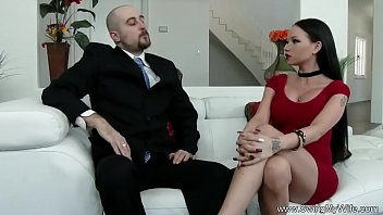 another blindfolded shared wife man with He has a very fat dick for her